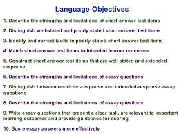 edu session writing supply items short answer and essay 4 language objectives
