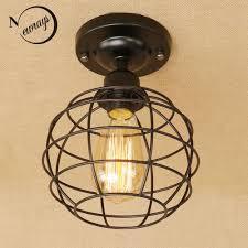 Loft Vintage Iron Cage Black Ceiling Lamp Led <b>E27 AC 110V</b> 220V ...