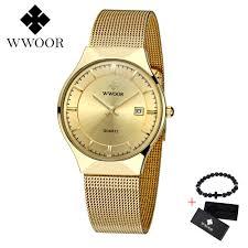 <b>WWOOR Free gift Mens</b> Watches Top Brand Luxury Waterproof ...
