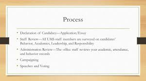student council elections for the school year   ppt download process declaration of candidacyapplicationessay staff reviewall ums staff members are