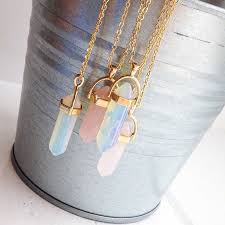 <b>Hot sale Hexagonal Column</b> Quartz Necklaces Pendants Fashion ...
