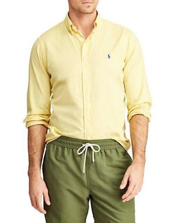 Clásico Polo Camisa Sarga Hombres Xl Talla De Lauren Corte Ralph Con Para Botones Amarillo 8wSx8gqf