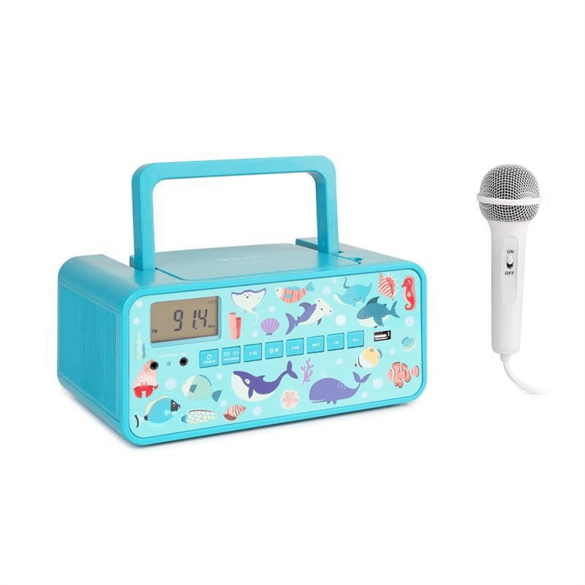 auna Kidsbox Boombox lecteur CD MP3 Bluetooth FM aux écran