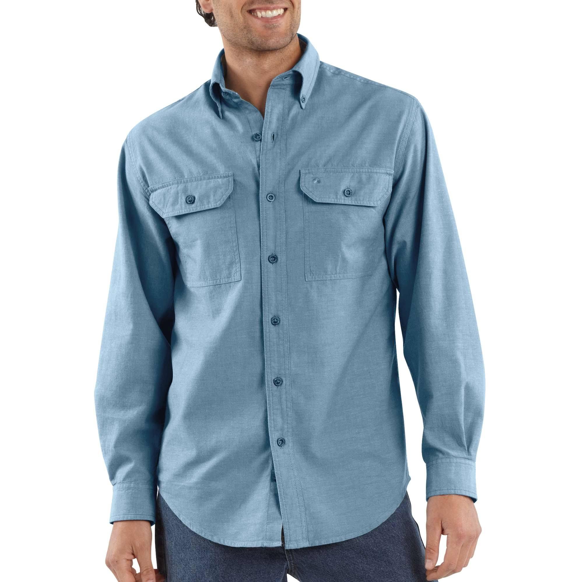 Hombre Para Carhartt De Cambray Azul Camisa Larga Manga RfcYWnyy7