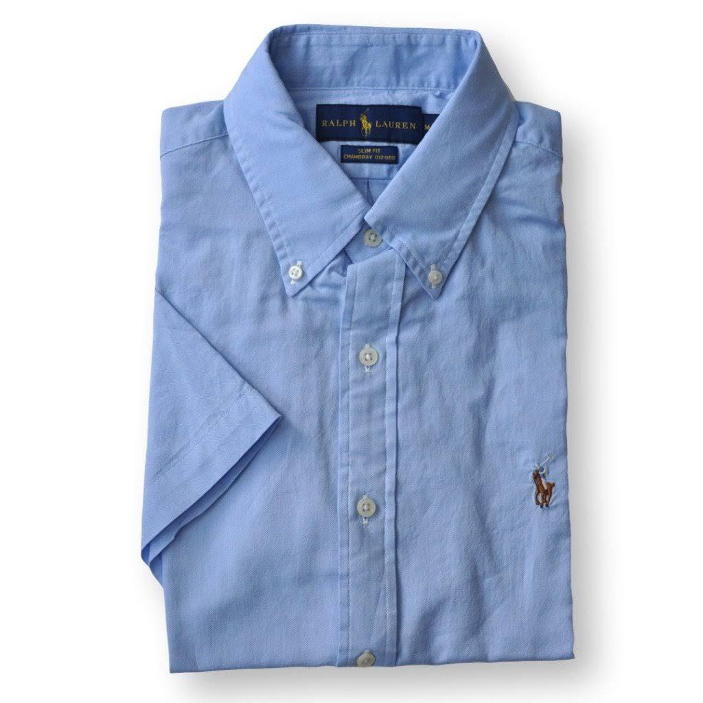 Ralph De Lauren Oxford Corta Polo Regular grande Manga X Para Claro Camisa Ajustada Hombre Azul pqdBXXnwU