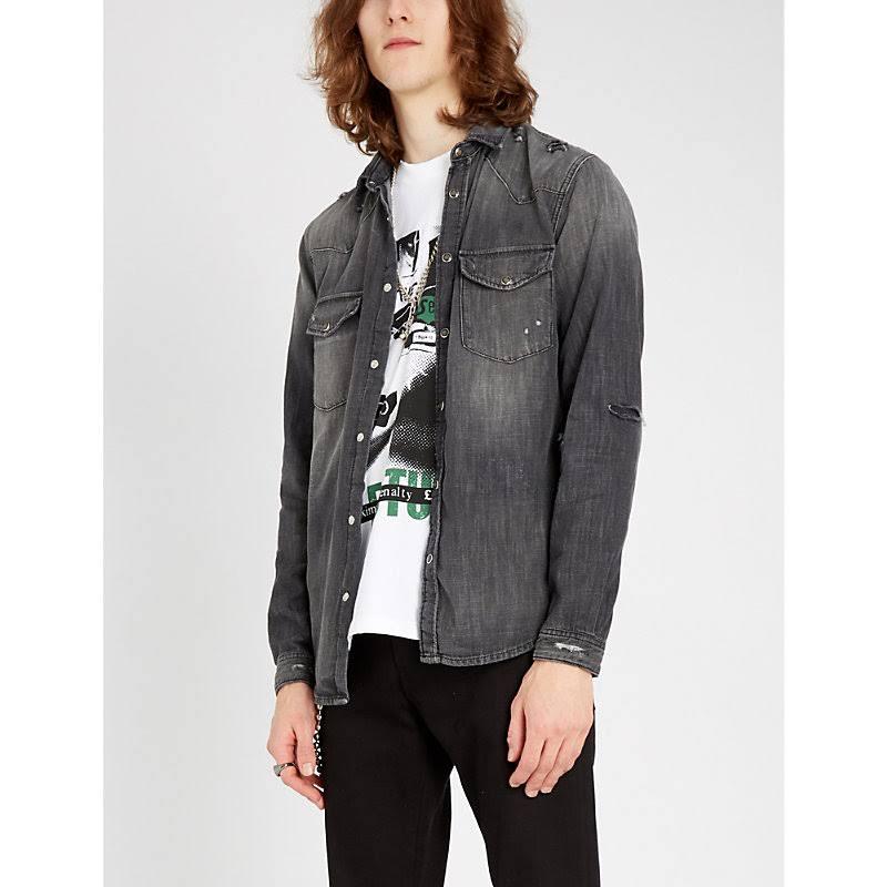 Mezclilla Lavada Kooples De La Camisa Negro En ZwzFIEx