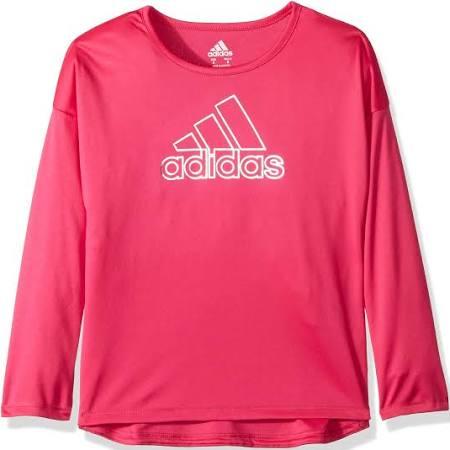 Niñas Larga Manga Adidas Magenta De Para Camiseta Logo Con PtCIwCYq