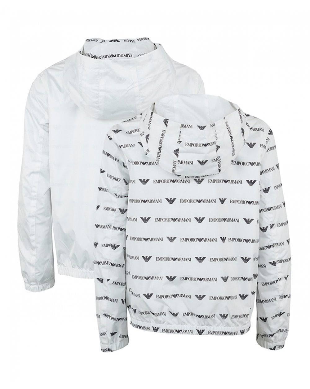 Polyester Armani Emporio Tamaño Blouson Blanco Men 14 qxpSxf