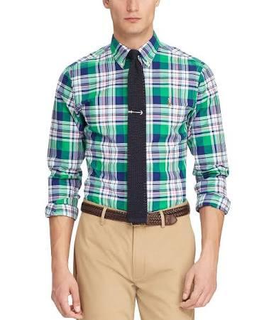 3044s Azul Ralph Cal Multi Oxford Para Ajustada Lauren Polo Verde Marino Camisa Elástica Hombre SFwnCR6qx