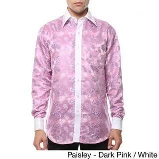 Und Weiß Geometrisches paisley 15 Satine Herren Pnk Pink Ferrecci 35 wht 34 Dk Paisleyhemd M qtEX6Hw