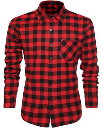 Larga De Manga Casual Botones Camisas Vestir Escocesa Tela Con Camisa Men Coofandy colores Multi XZYq0w