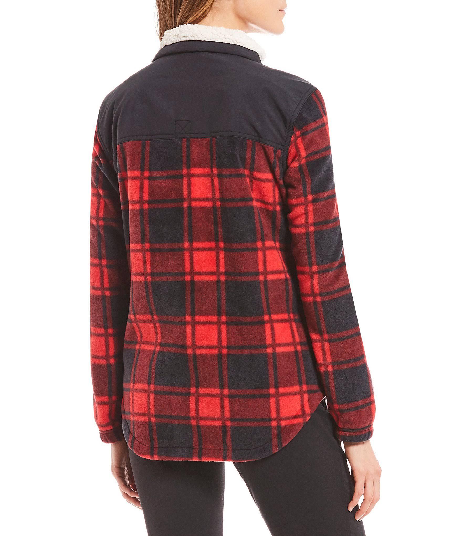 Para Negro Polar Superpuesta Forro Estampado Mujer Benton De Búfalo Chaqueta M Springs Columbia Rojo q0Afw