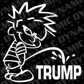 "Large 6"" Calvin Pee Piss On Trump Sticker Funny Jdm Vinyl Window Decal"
