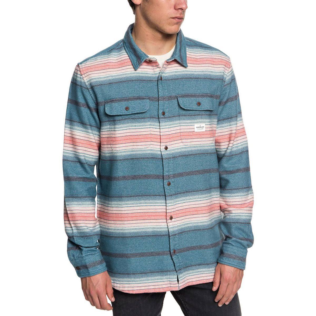 Azul Quiksilver Para De Franela Hombre Kanagawa Franja Camisa xSxqv0O