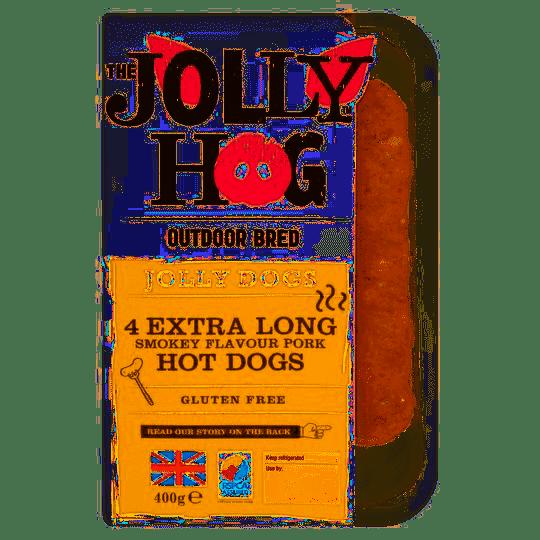 The Jolly Hog Extra Long Smokey Flavour Pork Hot Dogs x4
