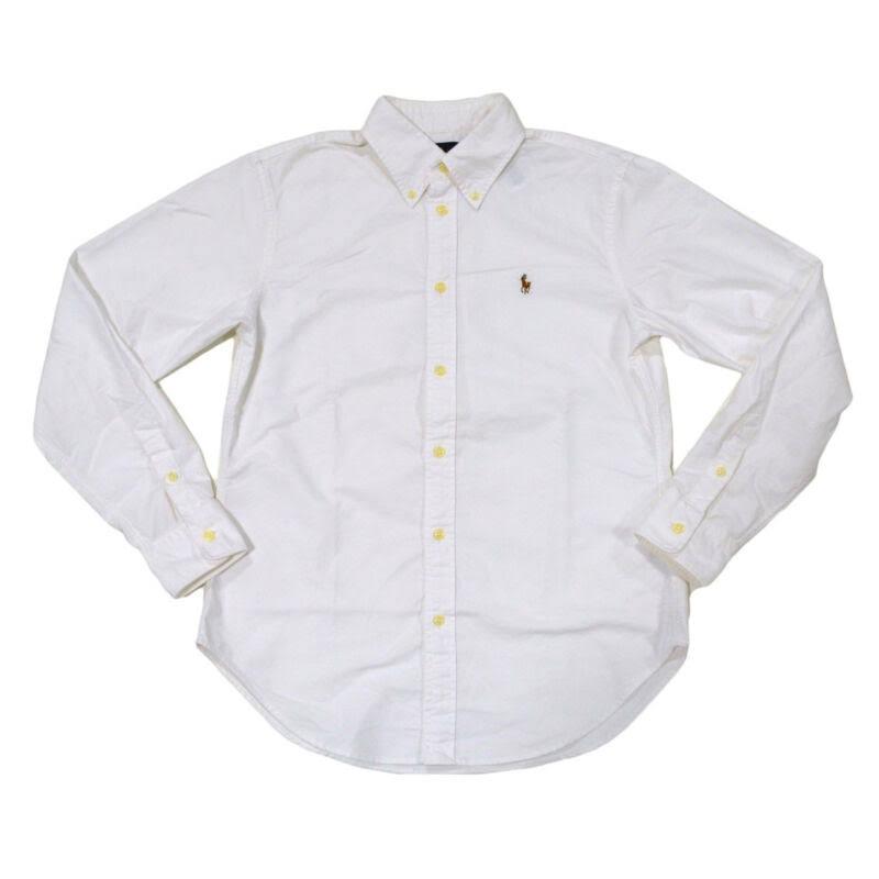 Para Oxford Ralph Clásico Xs Buttondown Corte Xl Blanca M Camisa Lauren Manga Mujer L Larga S5tCtqx