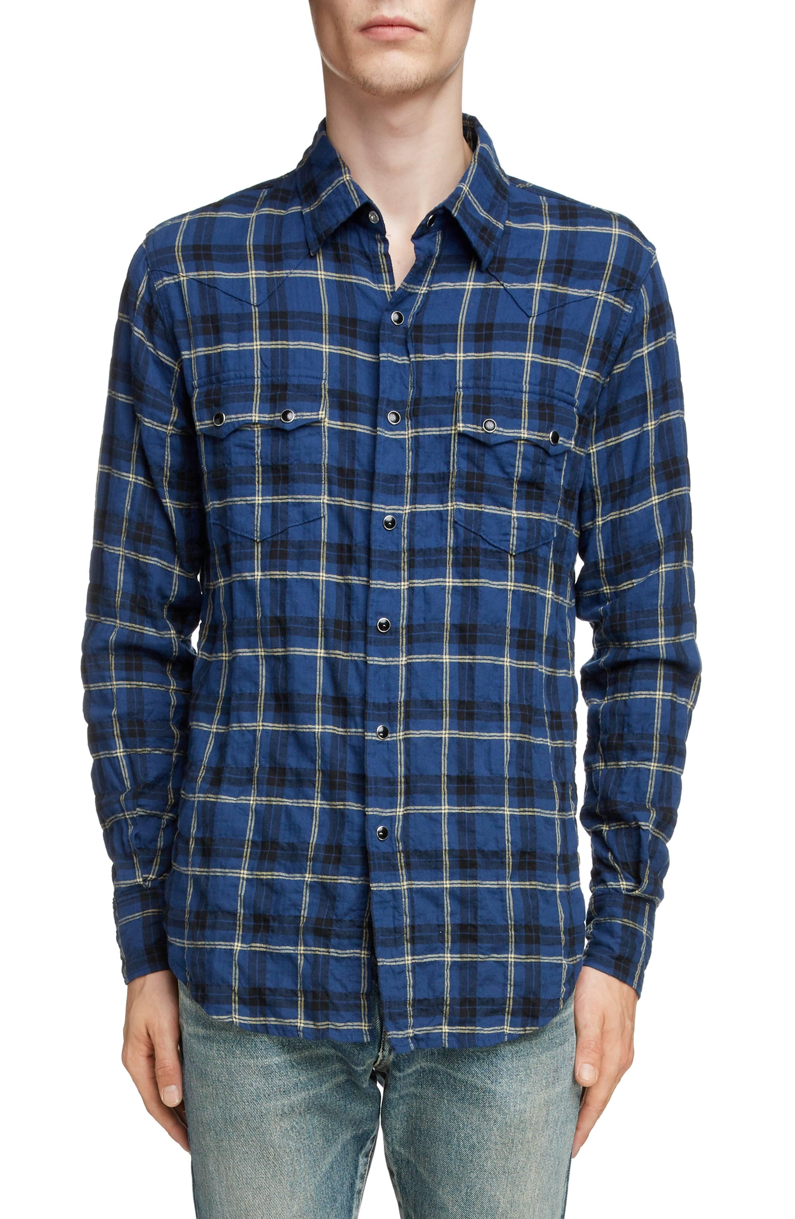 Laurent Saint Shirt Herren Flanell Gelb Blau Sport M Pocket Gelb Z4dgPqwn4r
