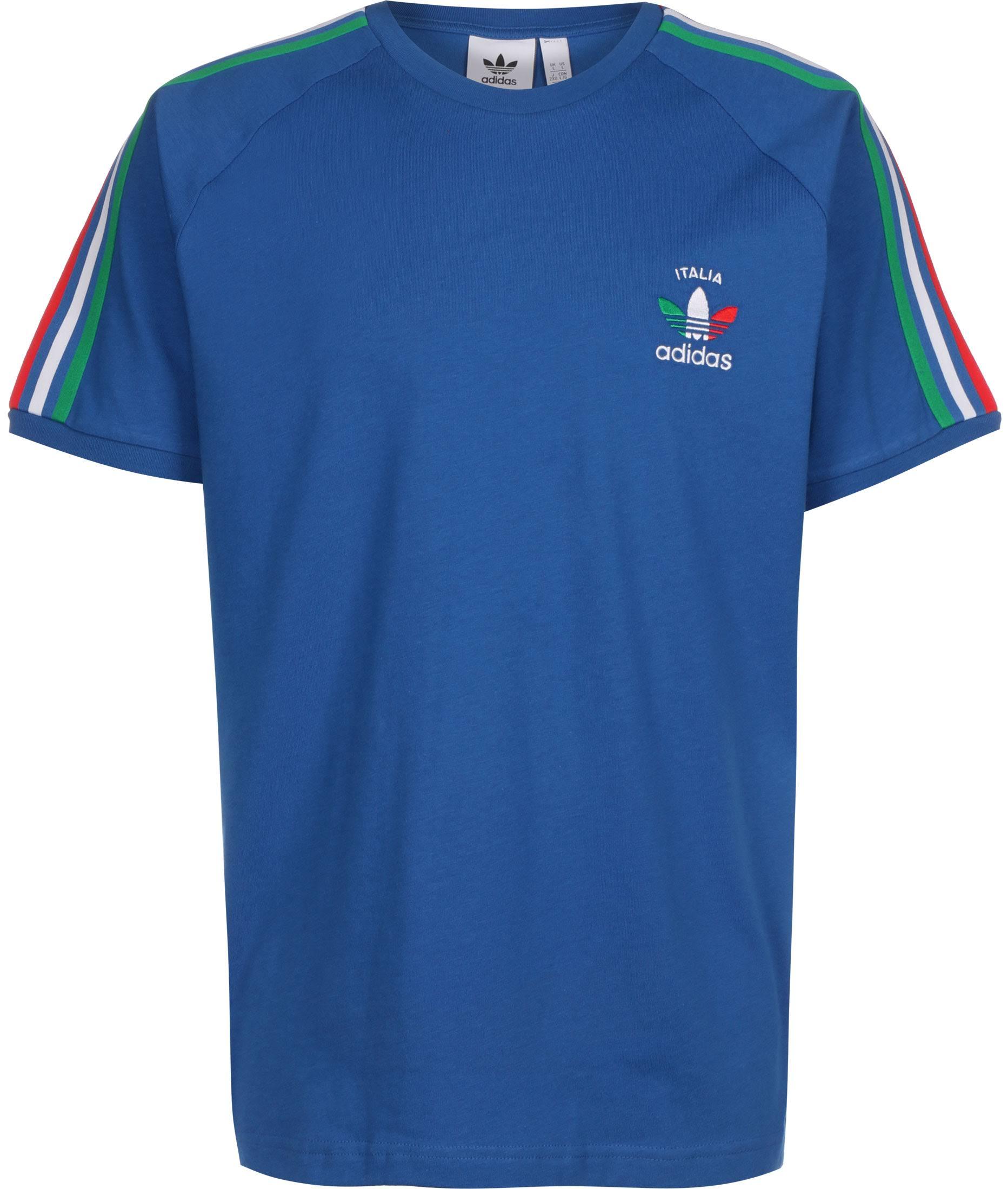 Adidas Originals 3 Stripe Italia T Shirt Blue