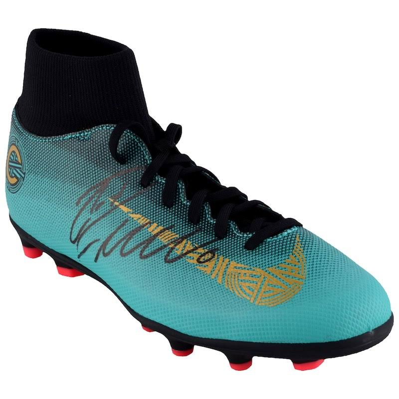 Nike Cr7 F Gold Teal Autographed And Juventus Ronaldo Cleat Cristiano Fanáticos c Mercurial T1PUUq