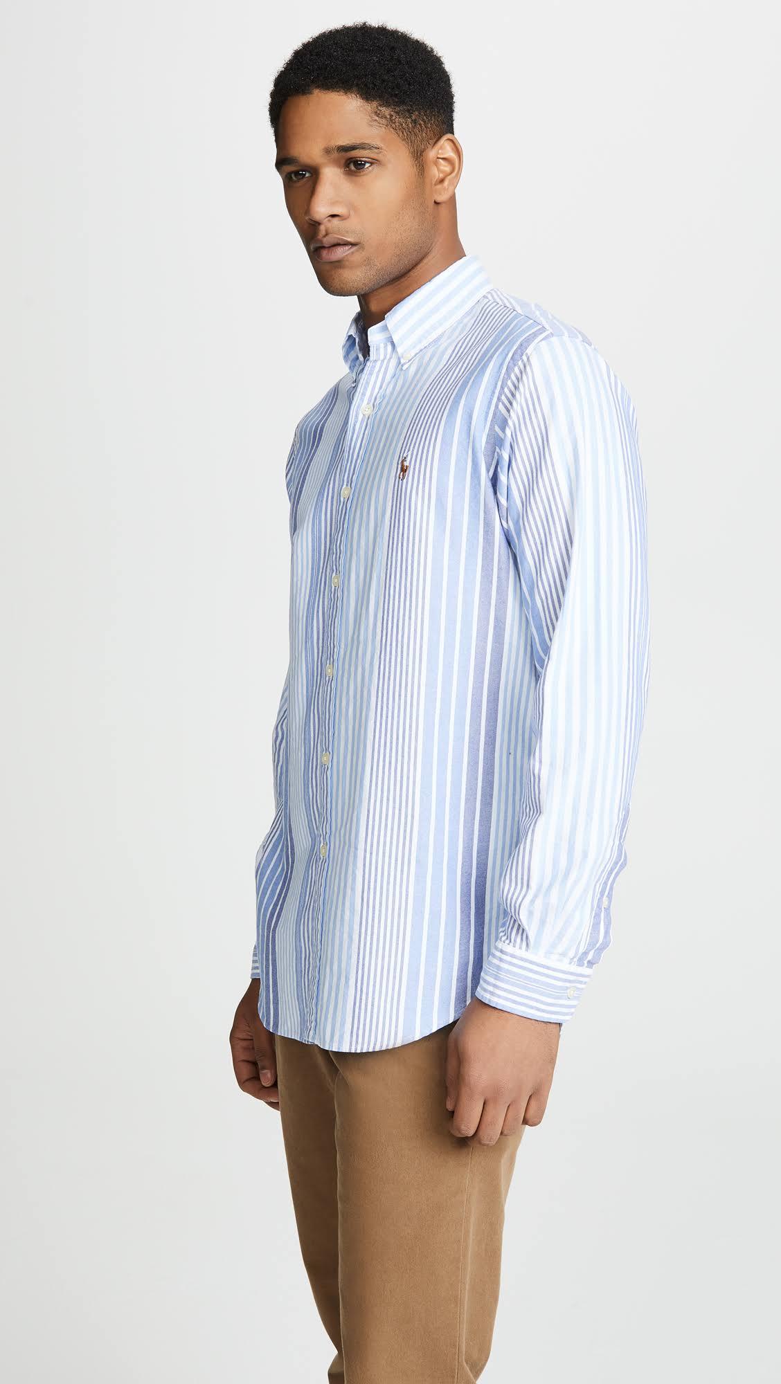 Ralph Camisa L Corte Oxford Woodbridge Rayas De Clásico A Lauren Polo RPHnvxdqq
