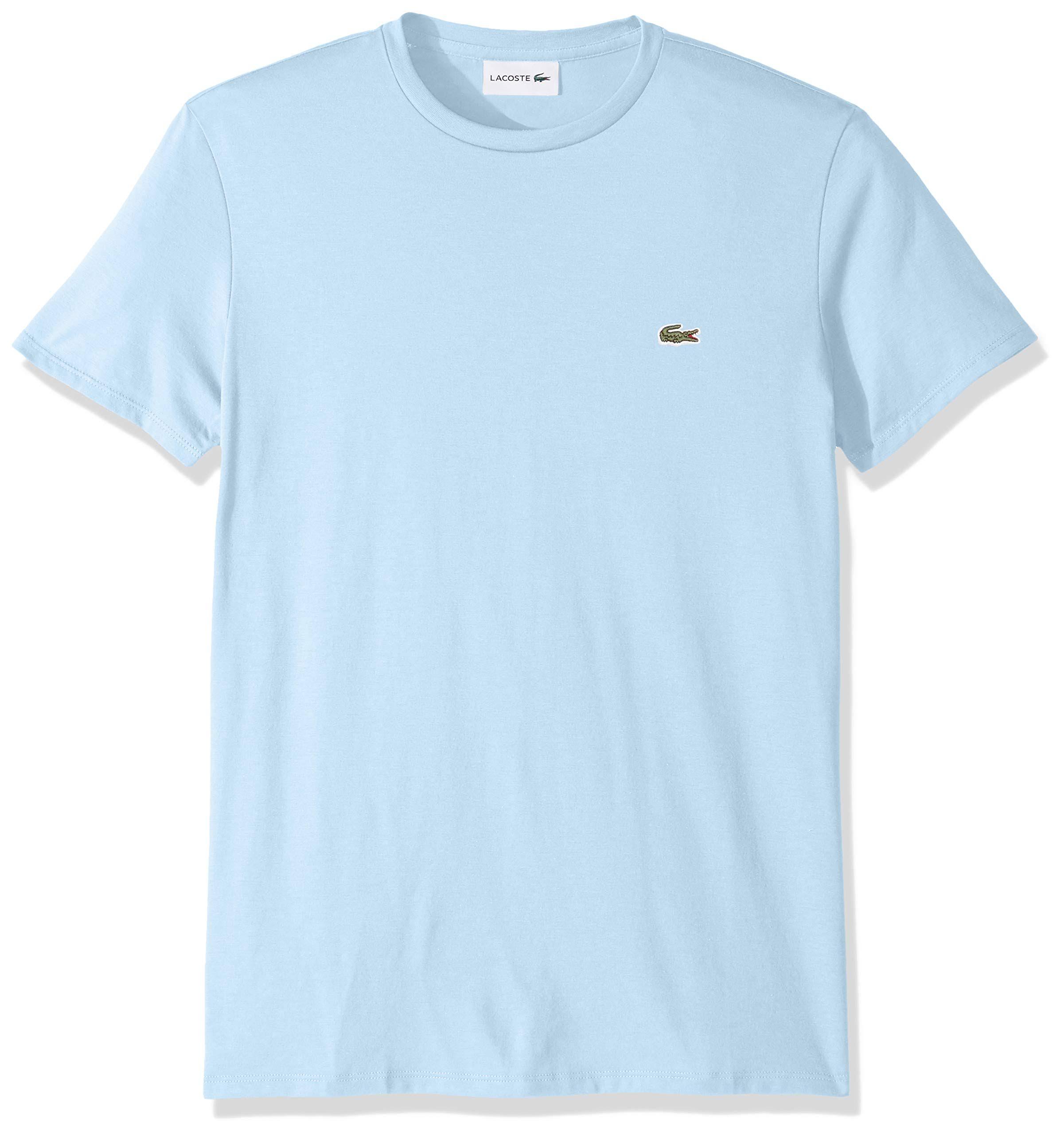 Männer Blau shirt Pima baumwolle L T Mit Rundhalsausschnitt Lacoste Aus AOfOw