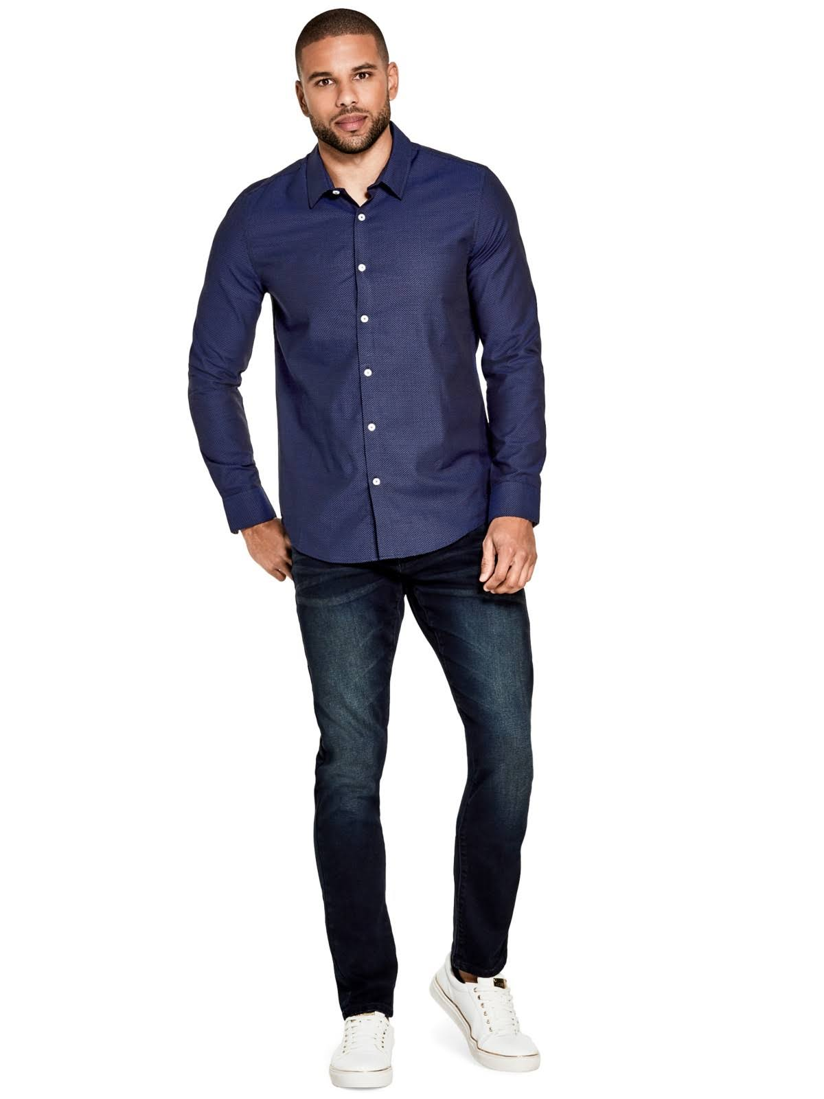 Chapman La Guess Azul Camisa En Parte Nightfall Delantera Botones Con Factory rYEwRxqE7