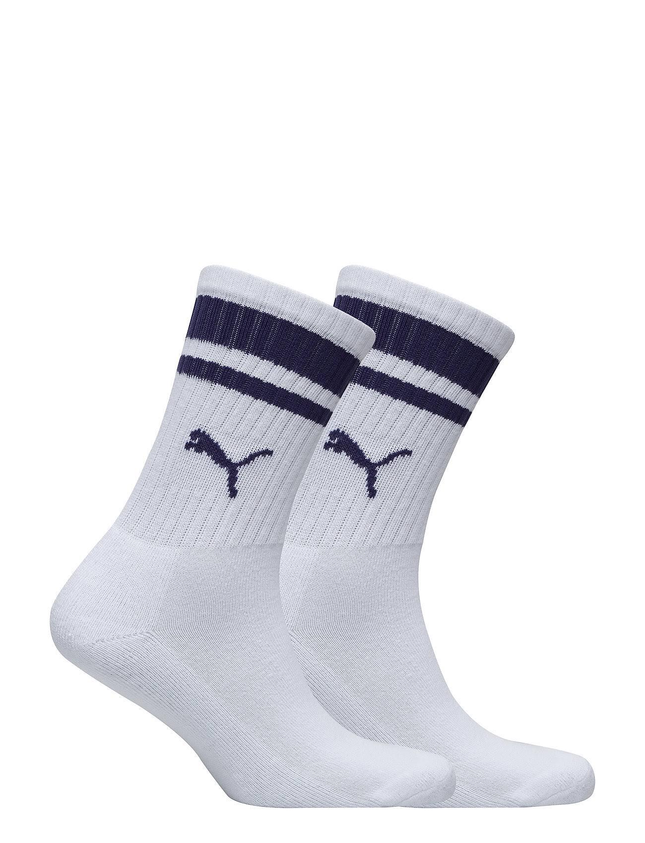 Puma 2-Pack of Heritage Stripe Socks, White. Man 39-42