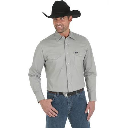 Premium Camisa Regular Hombre Larga Advanced Cowboy Comfort Cut Regular Talla Performance Wrangler S Para De Manga Plateada rUUxaIg