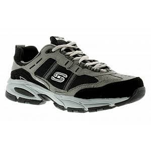 Skechers Vigor Mens Grey Black Lace Ups Trainers, Size: 12 - Grey - Size: 12