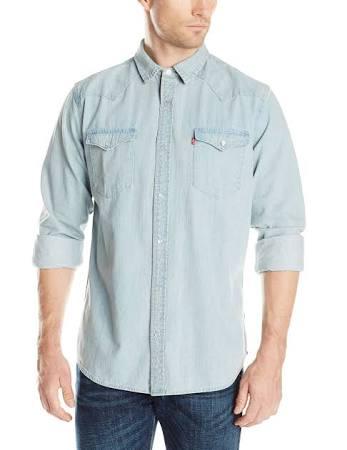 Barstow up Western Camisa Denim Age Hombre Estándar New Levi's Bleach Snap Para RgdwTnqq