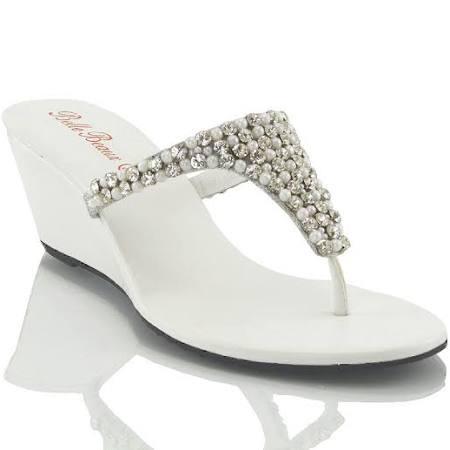 Womens Low Heel Wedge Diamante Toe Post Ladies Sparkly Dressy Party  Xz3oBs