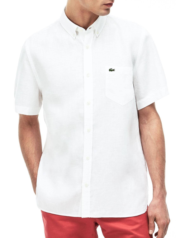 Manga Pantalla Corta Camisa De Fit Lino 40 Blanco Unicolor Regular En Lacoste nWU0qx4IZ4