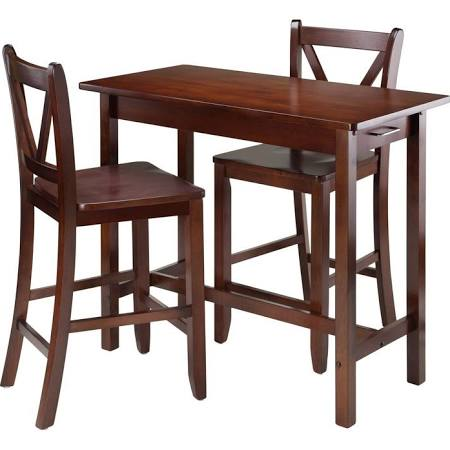WinWoood 3-Pc Kitchen Island Table with 2 V-Back Stool