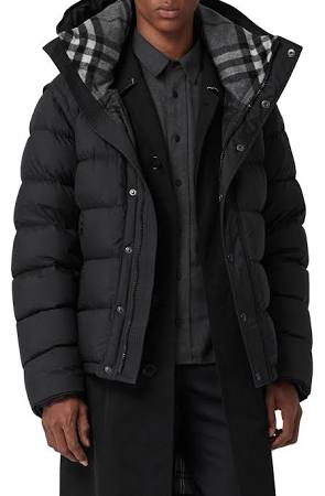 Hooded Down Burberry Hartley 44 Los Puffer Hombres De Negro Tamaño BTx7Sq4xwn