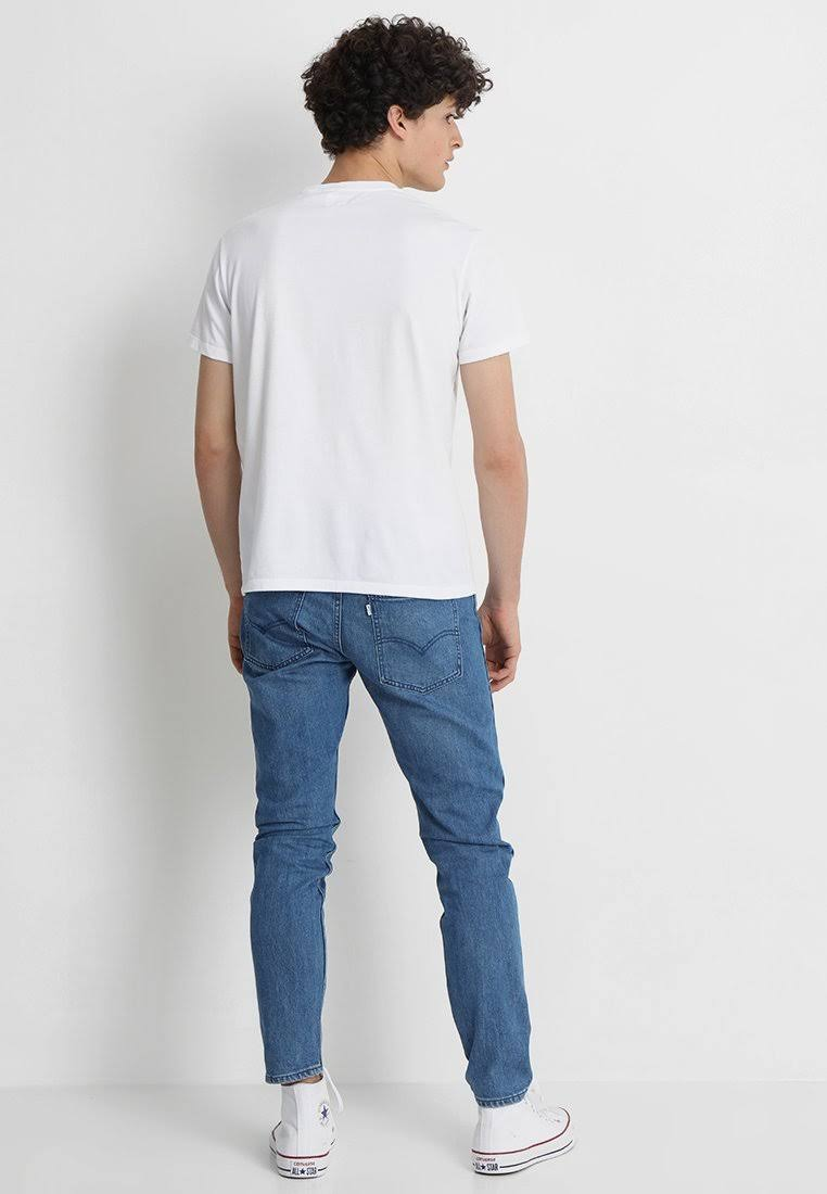 Camiseta Para Original Tee Blanco Hombre Parche Algodón 501 Levi's Y Xs Básica Tamaño qtwpZXTg