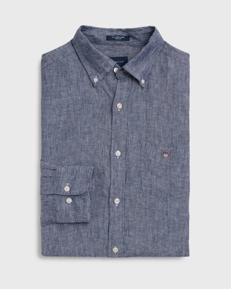 Persa Lino Azul Regular Camisa Gant wCx0XvAqHn