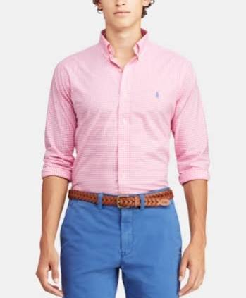 Regular S Fit Slim Check Lauren Männer Shirt Ralph Pink Polo W8qvzz