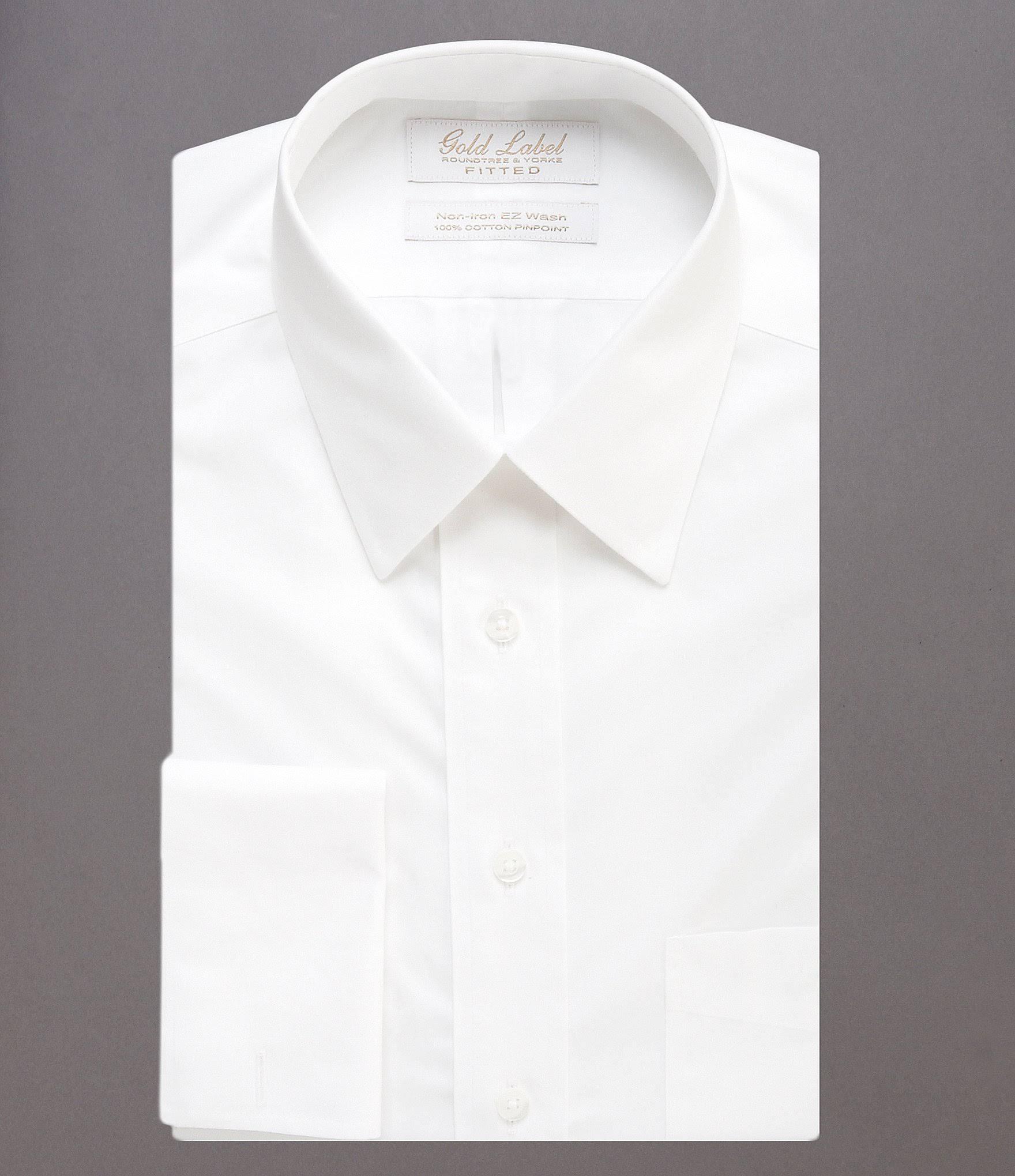 Gold Camisa X Sólido Puños 0 Mangas Con Estampado Label Cuello De Sin 34 Vestir Redondo Punto Franceses Y Roundtree amp; Blanco Yorke 17 rnaqr61