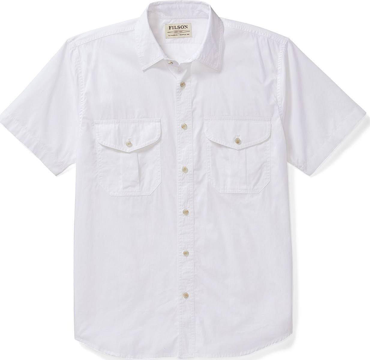 De Tela Manga Para Camisa Blanco M Corta Plumas En Hombres Filson da5wUwqnF