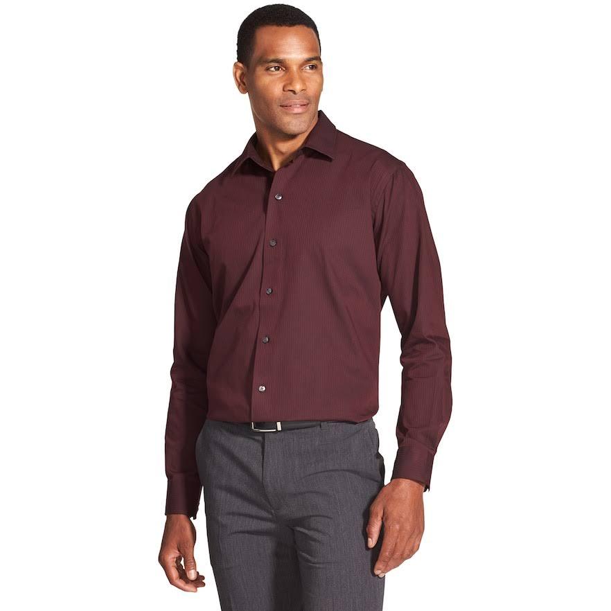 Rayas Van Rojo Camisa Heusen Oscuro Botones Tamaño Xl Con Slim A Para Hombres Satén De Corte wBXfq