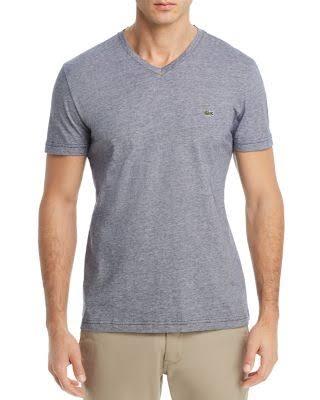 Algodón V En Blanco Con Hombre De Jersey Lacoste A Para Lomo Camiseta Rayas Gris Cuello qwBE8wF