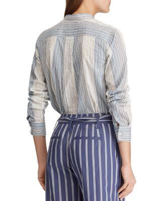 Ralph Blanco Camisa Con Multi Rayas Lauren Botones A Ox8qpw4