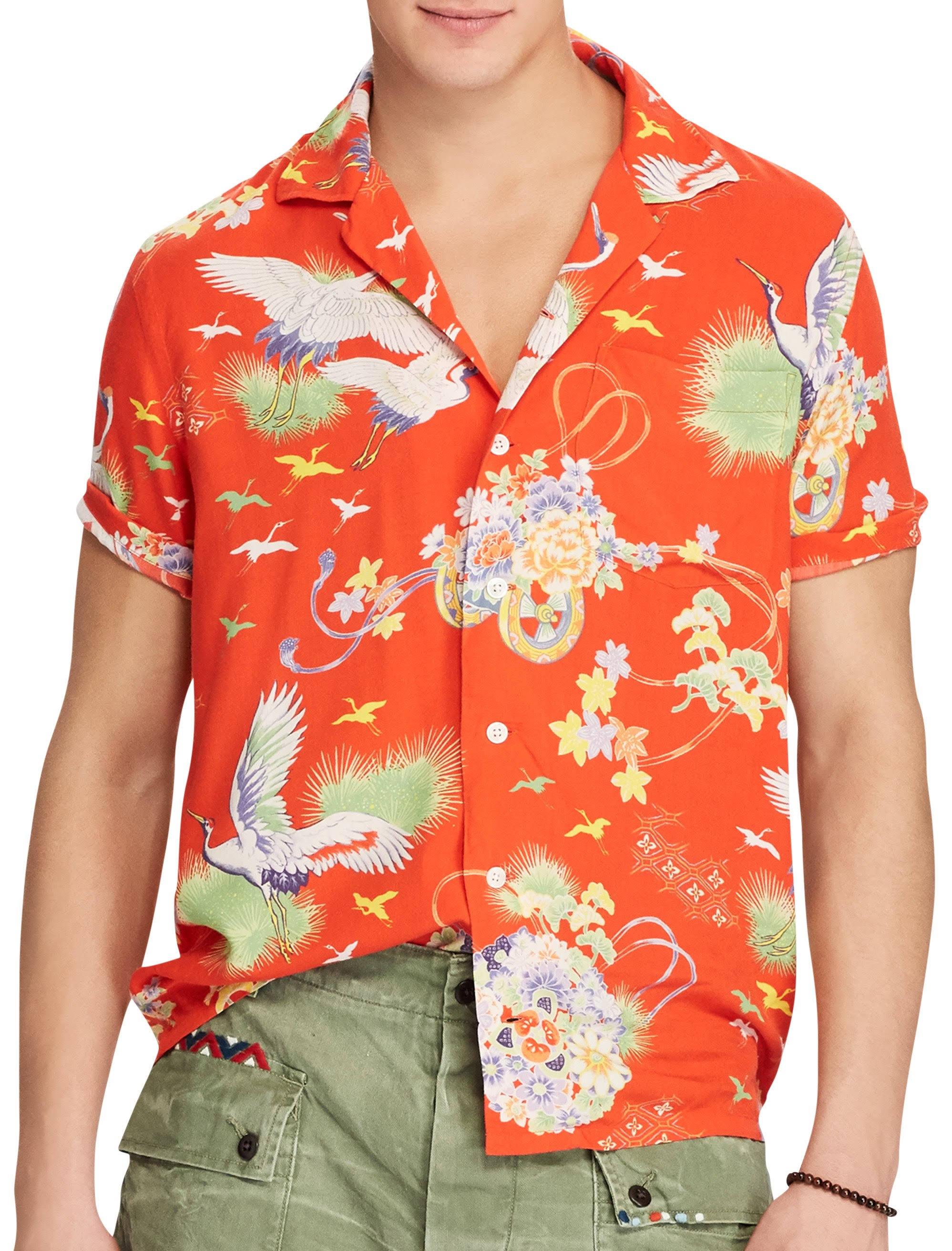 Hombres 145 Shirt Polo Orange Lauren Luau 2xlt Hawaiian Camp Ralph Tropical XqAZUww