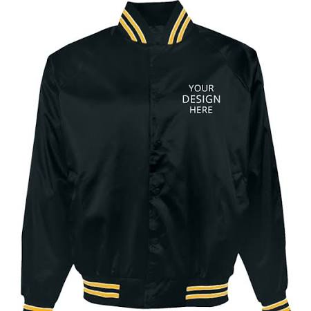 Chaquetas M Bordadas Asw Talla Pro Marino Forrada satin Logosportswear Medida Para Jacket Flannel Azul Baseball Dorado A Hombre r6qHrw1