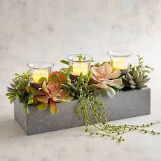 Faux Succulent Multiple Tealight Candle Holder