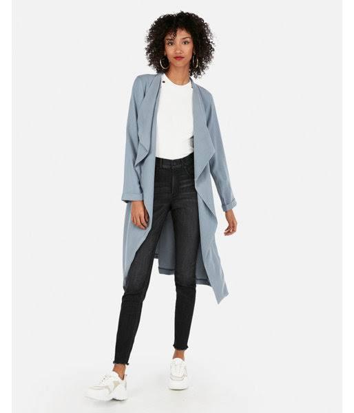 Pocket Express Trench Coat M Zip Azul Mujer Soft rqtwnz5xUq