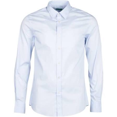 De Delgado Compridas claro Corte Azul Mangas Camisa Benetton 5tqx8Bw6x
