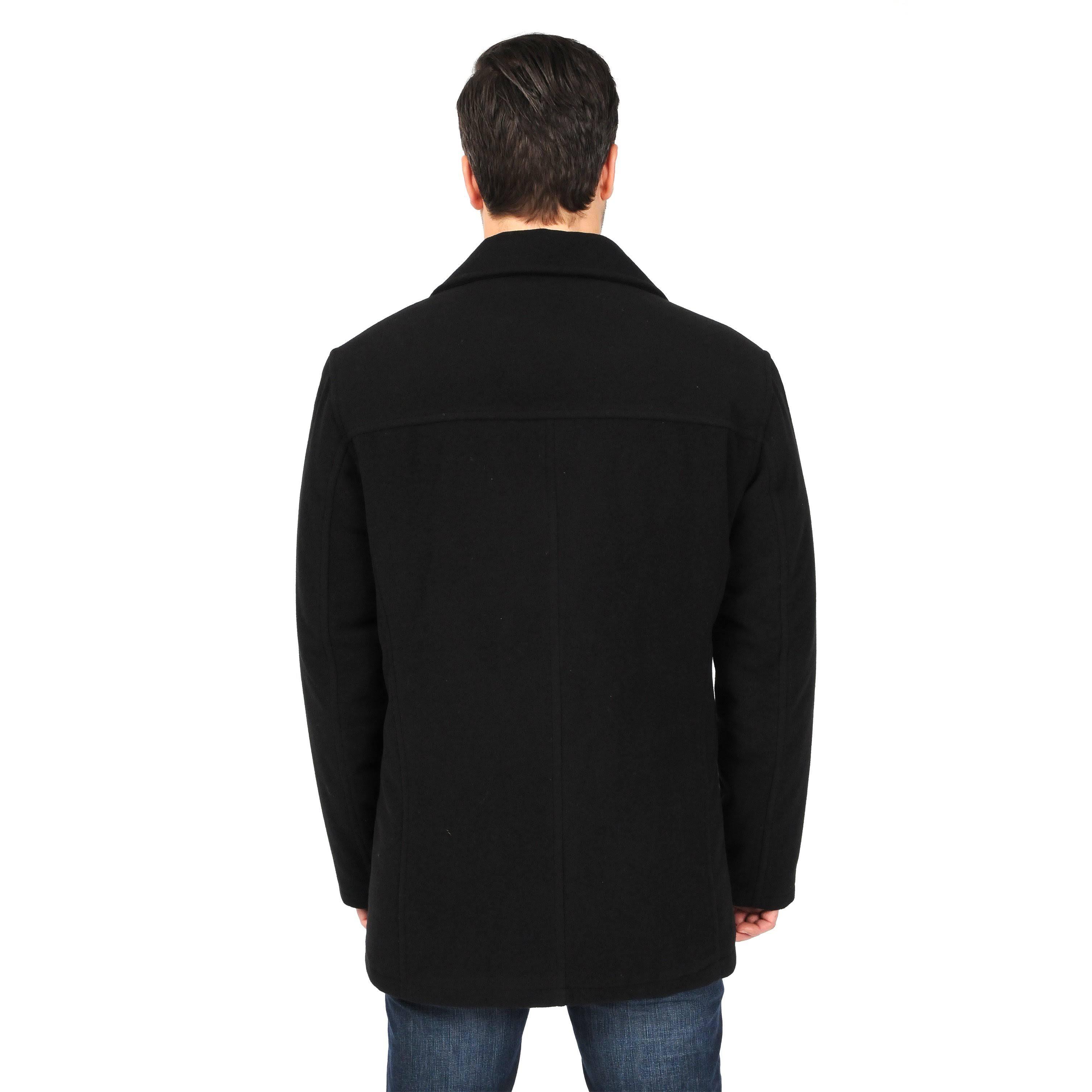 Breasted Double Wool Black Peacoat Lt Faux Sobresalido Mens Tall p6qwxCzt