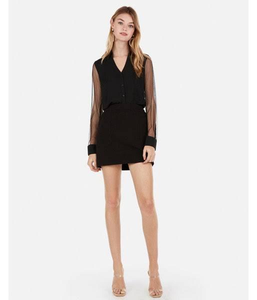 Damen Portofino Sleeve L Slim Schwarz Shirt Mesh Fit wxvq7AYTf