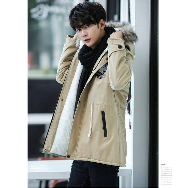 Herren M03khaki Lässig New Mantel Liebhaber Parka Costbuys Outwear Fashion Warm Winterjacke S Fit Slim Hood Fleece 8X6Fwq
